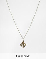 Reclaimed Vintage Gold Plated Fleur De Lis Pendant Necklace