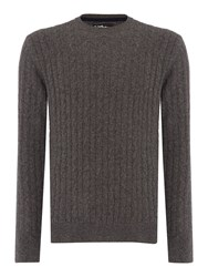 Barbour Men's Essential Cable Crew Neck Grey Marl
