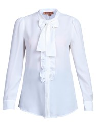Jolie Moi Bow Tie Neck Ruffle Front Shirt White