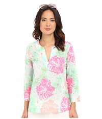 Lilly Pulitzer Amelia Island Tunic Poolside Blue Beach Walk Women's Blouse Green