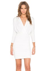Bobi Black Liquid Jersey V Neck Long Sleeve Mini Dress White