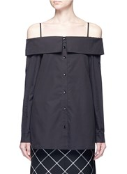 Tibi Cotton Poplin Off Shoulder Shirt Top Black