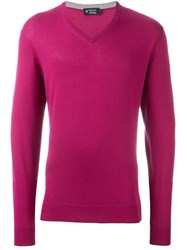 Hackett V Neck Sweater Pink And Purple