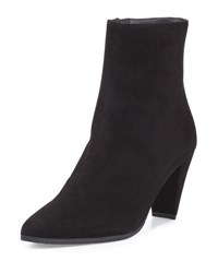 Stuart Weitzman Apollo Suede Pointed Toe Bootie Black