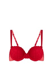 Stella Mccartney Millie Drawing Floral Lace Balconette Bra Red