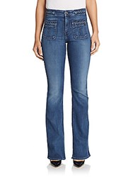 7 For All Mankind Braided Flared Jeans Diamond Blue