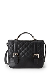 Forever 21 Quilted Faux Leather Crossbody Black