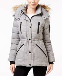 Guess Faux Fur Trim Hooded Puffer Coat Only At Macy's Grey Melange