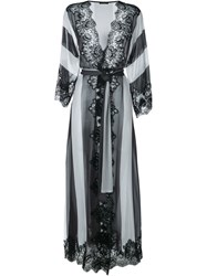 Rosamosario Lace Application Striped Dressing Gown Black