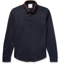 Wooyoungmi Slim Fit Contrast Trimmed Herringbone Wool Shirt Midnight Blue