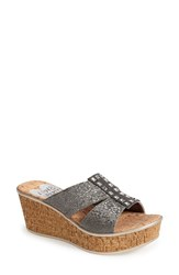Women's Love And Liberty 'Nadia' Elastic Strap Slide Pewter