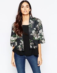 Mela Loves London Ponti Daisy Print Jacket Black
