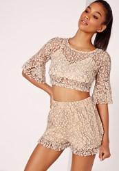 Missguided Corded Lace Crop Top Nude Beige