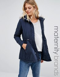 New Look Maternity Faux Fur Hooded Parka Navy Blue