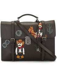 Dolce And Gabbana Cowboy Patch Briefcase Brown