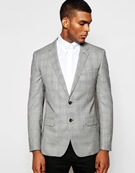 Reiss Prince Of Wales Check Blazer In Slim Fit Grey