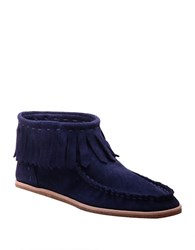 Splendid Bennie Suede Moccasin Ankle Boots Navy Blue