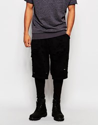 Asos Meggings With Shorts In Distressed Style Black