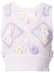 Mikio Sakabe Floral Embroidered Sleeveless Knit Top Pink And Purple