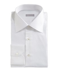 Stefano Ricci Textured Tonal Stripe Dress Shirt White