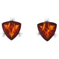 Be Jewelled Sterling Silver Cognac Baltic Amber Triangular Stud Earrings Amber