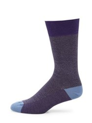 Saks Fifth Avenue Herringbone Socks Blue