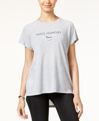 Freeze 24 7 Juniors' Miso Hungry High Low Graphic T Shirt Grey Heather