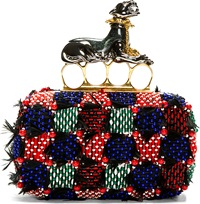 Alexander Mcqueen Red And Purple Feather Embroidered Panther Knuckle Box Clutch
