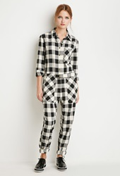 Forever 21 Buffalo Plaid Jumpsuit Cream Black