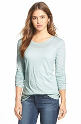 Petite Women's Caslon Long Sleeve Slub Knit Tee Blue Raindrop