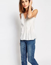 Warehouse Lace Insert Cotton Top White