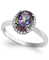 Macy's 14K White Gold Mystic Topaz 2 Ct. T.W. And Diamond Accent Ring