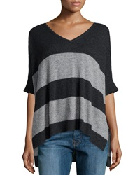 Christopher Fischer Cashmere Ruana Striped Short Sleeve Poncho Smoke Gray