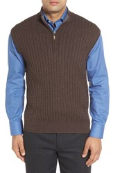 Robert Talbott Men's Cable Knit Quarter Zip Cotton Blend Sweater Vest Coffee