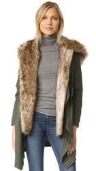 Bb Dakota Gerrard Coat With Faux Fur Army Green