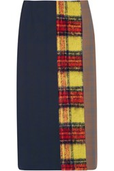 Acne Studios Polina Patchwork Checked Wool Blend Pencil Skirt Navy