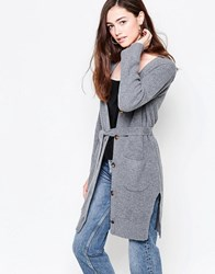 Ganni Mercer Knit Long Cardigan With Belt Smoked Pearl Melange White