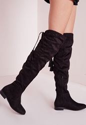 Missguided Flat Knee High Tassel Back Boot Black Black