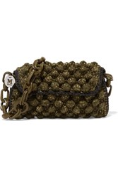 M Missoni Textured Crochet Knit Shoulder Bag Army Green