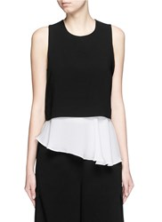 Elizabeth And James 'Amelie' Asymmetric Silk Hem Sleeveless Crepe Top Black Multi Colour