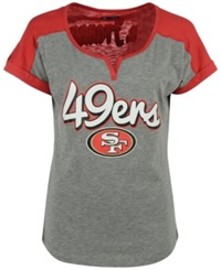 5Th And Ocean Women's San Francisco 49Ers Rolled Sleeve T Shirt Gray