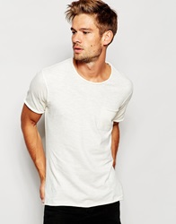 Selected Homme Washed T Shirt With Raw Edge Offwhite