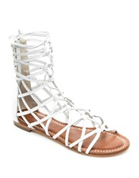 Bernardo Willow Caged Gladiator Leather Sandals White