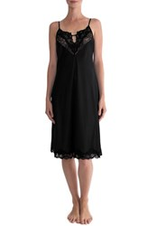 In Bloom By Jonquil Women's Satin Midi Nightgown Black Black