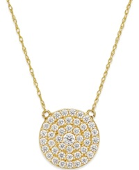 Macy's White Sapphire 9 10 Ct. T.W. Circle Cluster Pendant Necklace In 14K Gold
