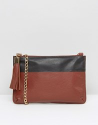Urbancode Leather Clutch Bag With Optional Cross Body Strap Rust Black Brown