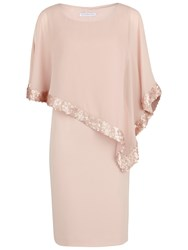 Gina Bacconi Crepe Dress And Sequin Chiffon Cape Apricot Crush
