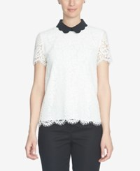 Cece Lace Peter Pan Collar Top New Ivory