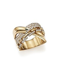 Bloomingdale's Diamond Crossover Ring In 14K Yellow Gold .75 Ct. T.W. White Gold