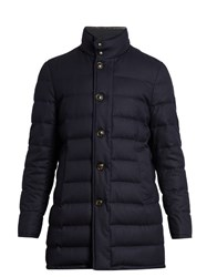 Moncler Vallier Water Repellent Wool Quilted Down Coat Navy